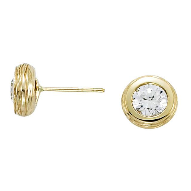 6.5mm Moissanite Twig Textured Stud Earrings