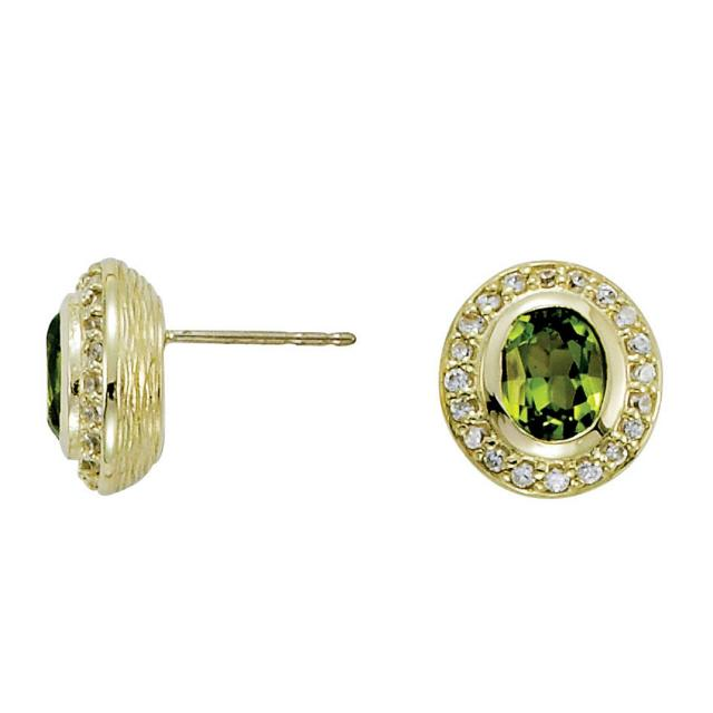 7x5mm Oval Green Peridot & Diamond Halo Stud Earrings