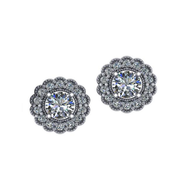2.58 ctw Round Diamond & Scalloped Halo Stud Earrings