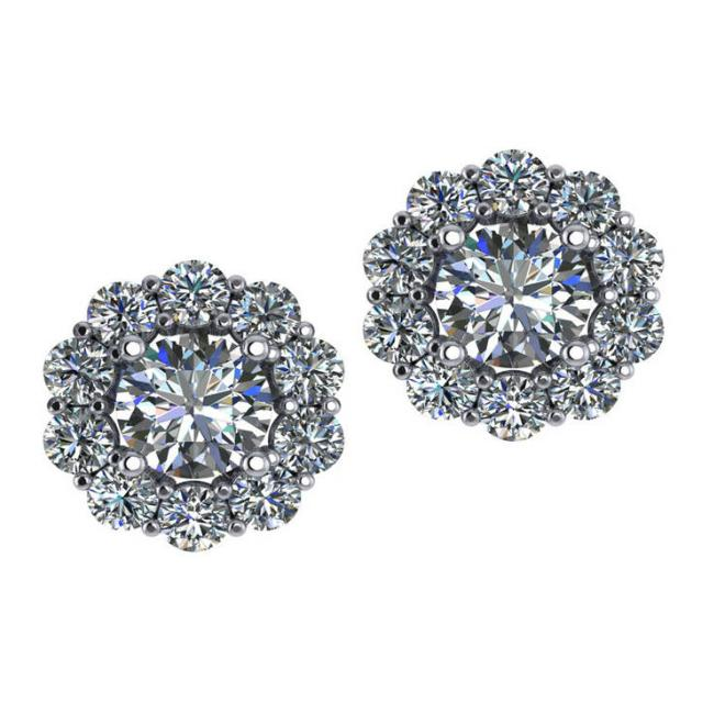 1.00 ct Round Hearts & Arrows Harro Moissanite & 2.00 ctw Diamond Halo Stud Earrings
