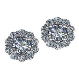 Round Diamond & Diamond Flower Halo Stud Earrings 4.00ctw