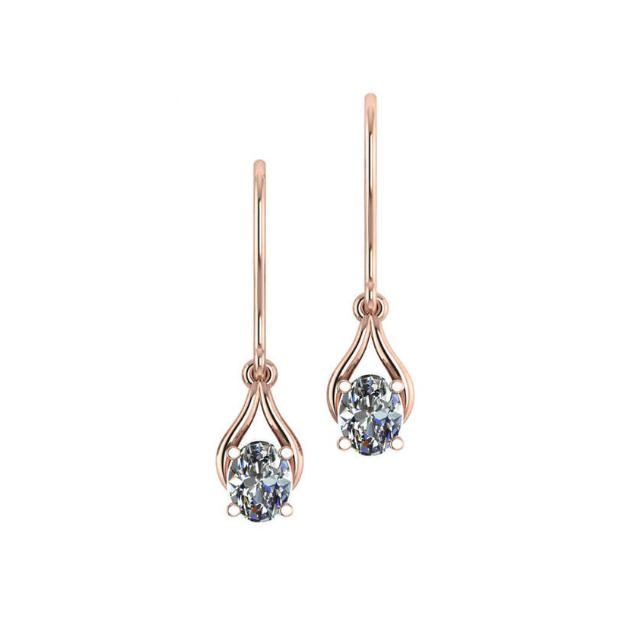 1.50 Carat Oval Diamond Wishbone Dangle Earrings