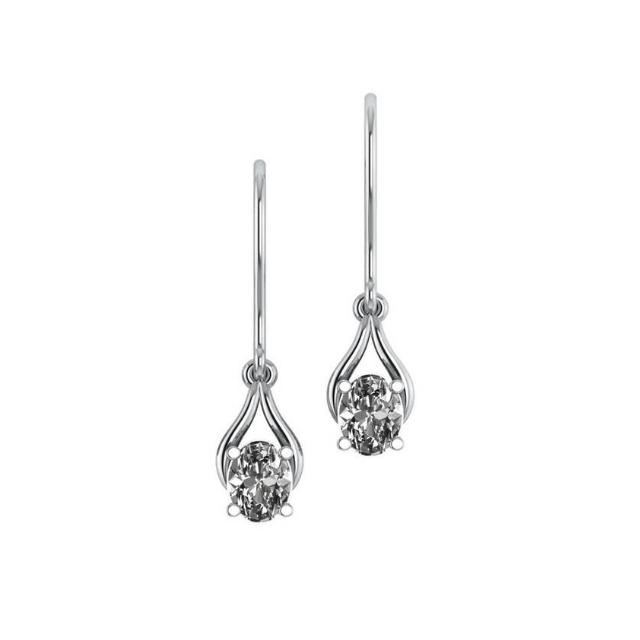 1.50 Carat Oval Diamond Wishbone Dangle Earrings