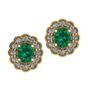 Oval Emerald & Diamond Scalloped Halo Stud Earrings