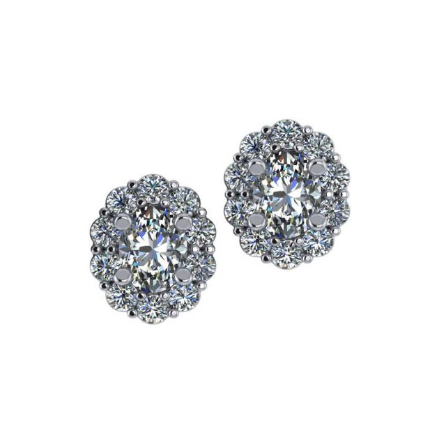 1.60 ctw Oval Diamond & Scalloped Halo Stud Earrings
