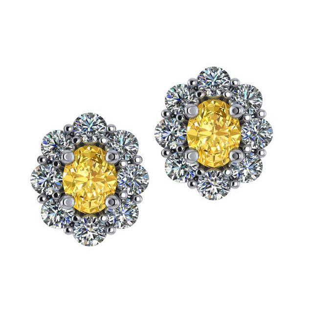 1.00 ctw Yellow Sapphire & Flower Diamond Stud Earrings