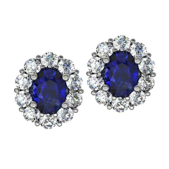 2.00 ctw Oval Blue Sapphire & Diamond Flower Stud Earrings