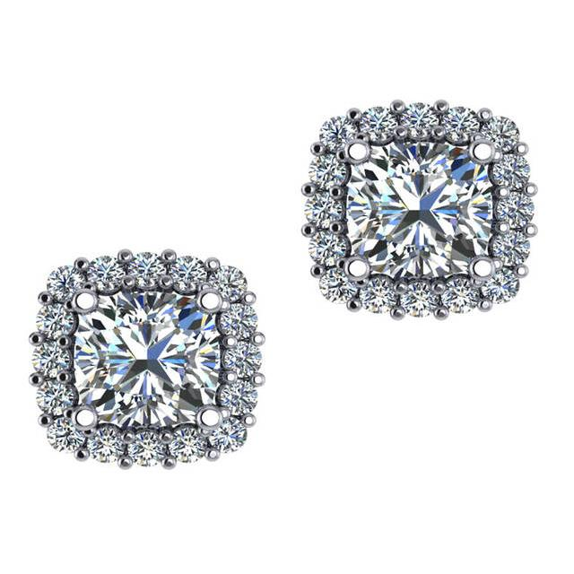 3.00 Carat tw. Cushion Diamond & Halo Stud Earrings