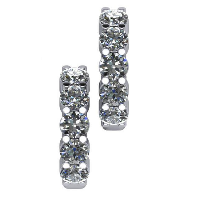 2.50 Carat Diamond Hinged Hoop Earrings