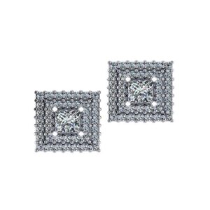 Princess Cut Diamond & Double Halo Stud Earrings