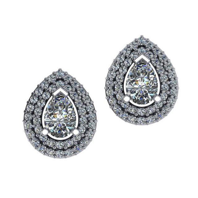 2.00 ctw Pear Diamond & Double Halo Stud Earrings