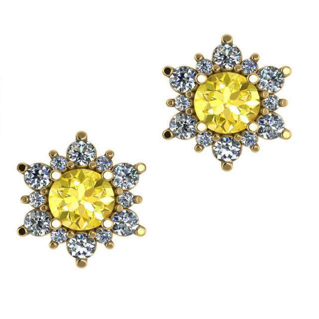 Yellow Sapphire & Diamond Flower Stud Earrings