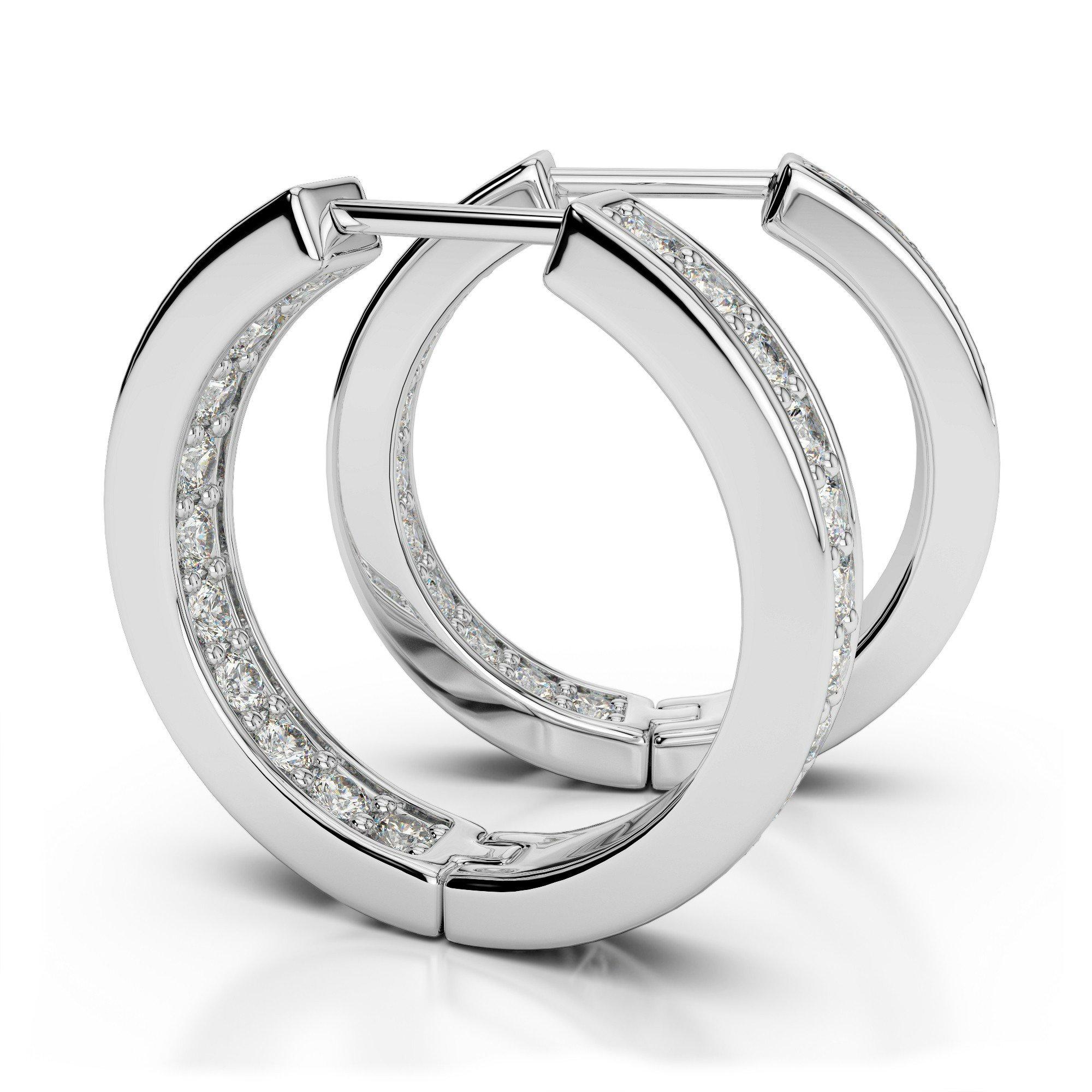 1.00 Carat Diamond Inside/Out Hoop Earrings