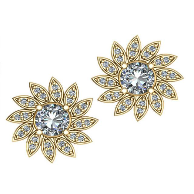1.24 CT Diamond Flower Stud Earrings