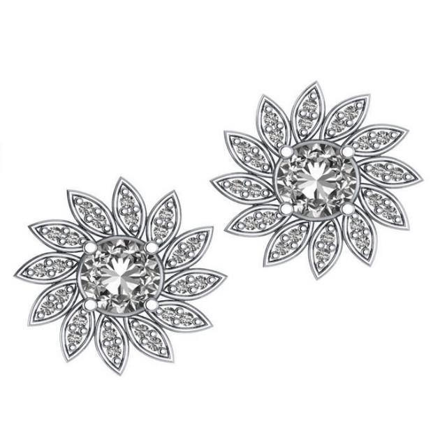 1.24 CT Diamond Flower Stud Earrings