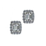 Emerald Diamond & Halo Stud Earrings