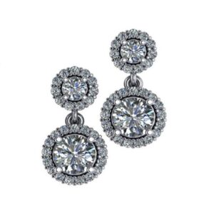 Diamond Two Stone Halo Dangle Earrings