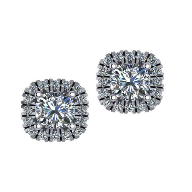 1.00 Carat tw. Cushion Diamond Stud Earrings