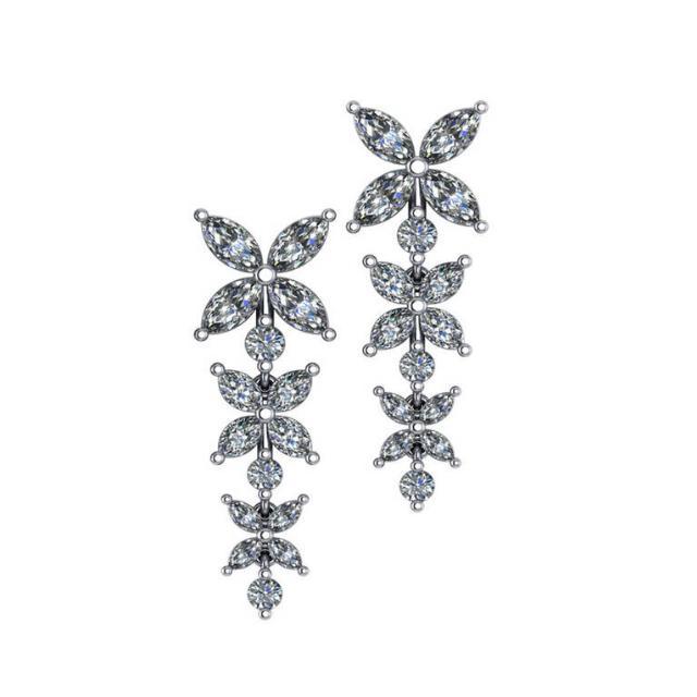 6.00 ctw Marquise & Round Diamond Flower Dangle Earrings