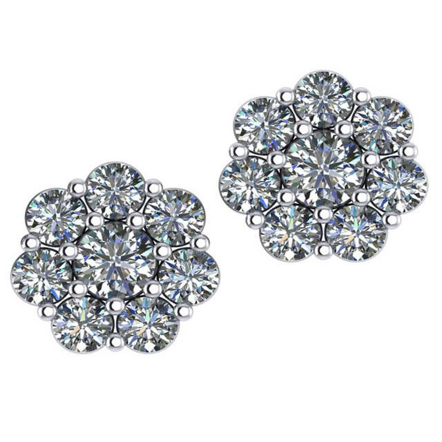 1.52 Carat Diamond Flower Stud Earrings