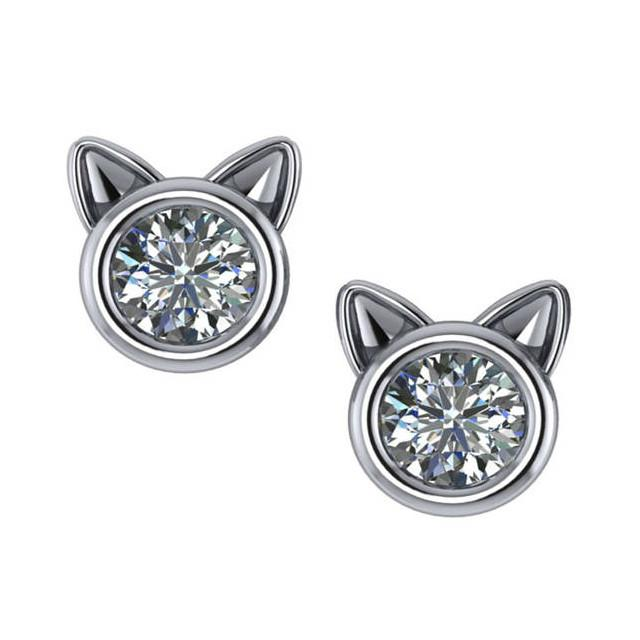 0.50 ctw Bezel Diamond Cat Stud Earrings