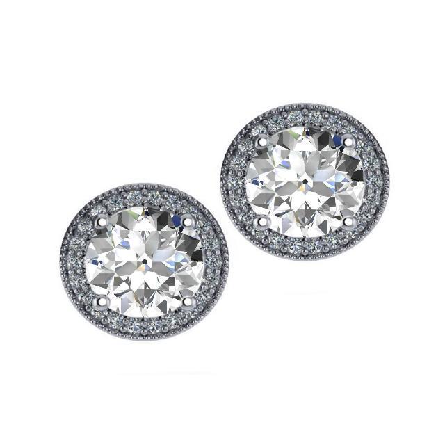8.5mm Old European Cut Moissanite & Diamond Halo Red Carpet Stud Earrings