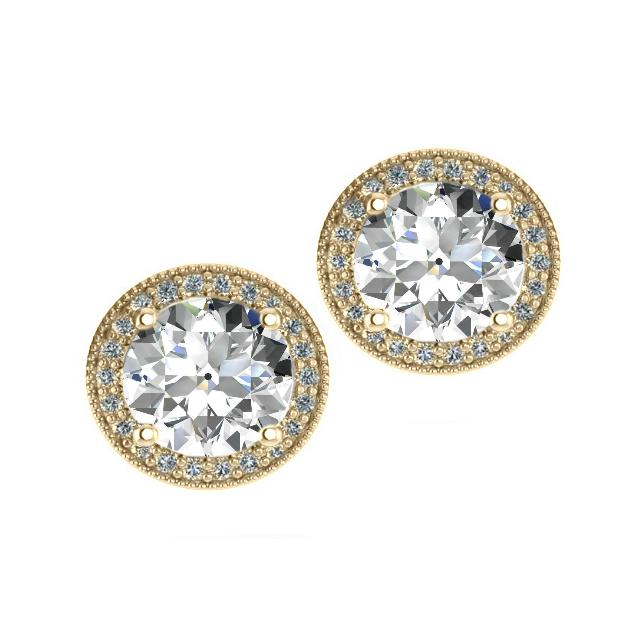 8.5mm Old European Cut Moissanite & Diamond Halo Red Carpet Stud Earrings