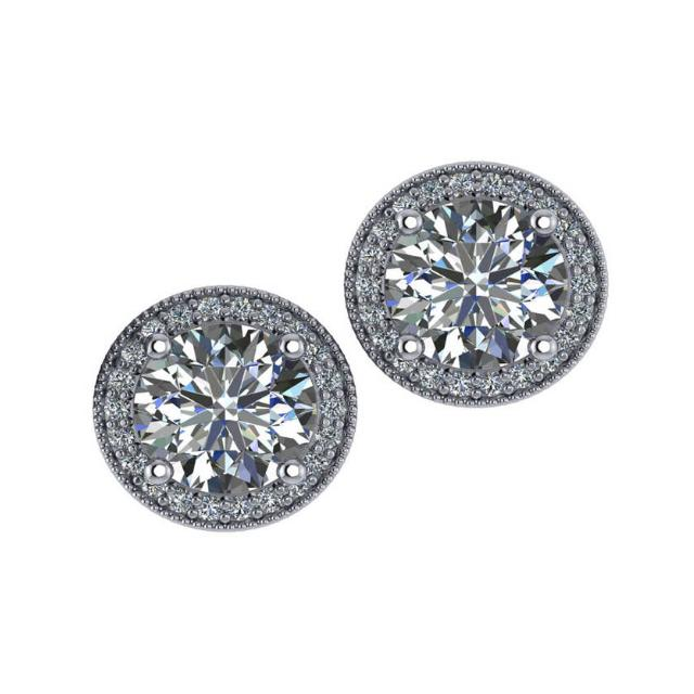 8.5mm Forever One Moissanite & Diamond Halo Red Carpet Stud Earrings