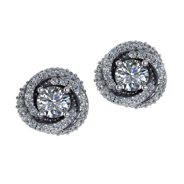 1.72 ctw Diamond Swirl Stud Earrings
