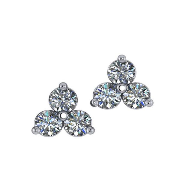 1.50 Carat Diamond Trio Stud Earrings