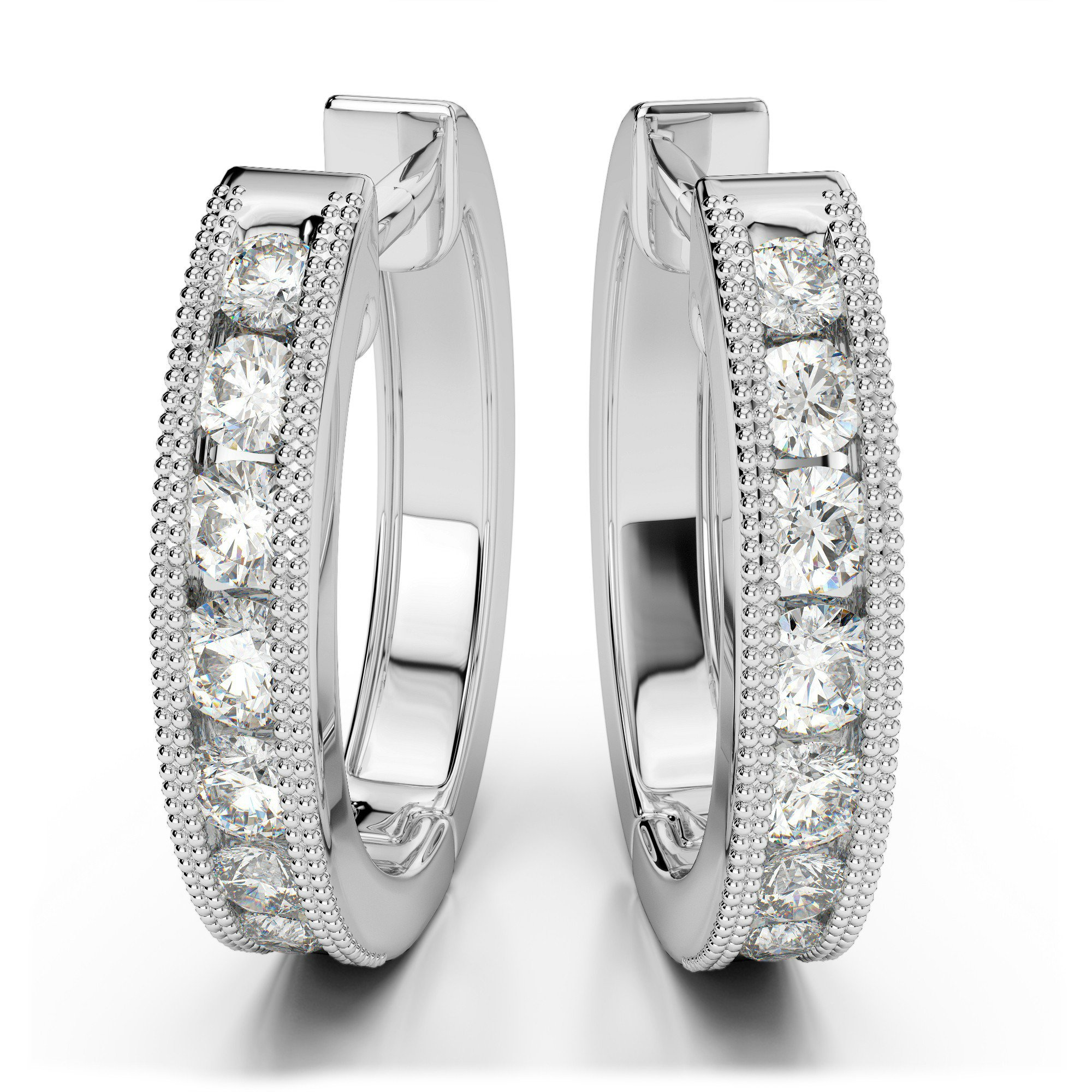 1.40 Carat Diamond Milgrain Hoop Earrings
