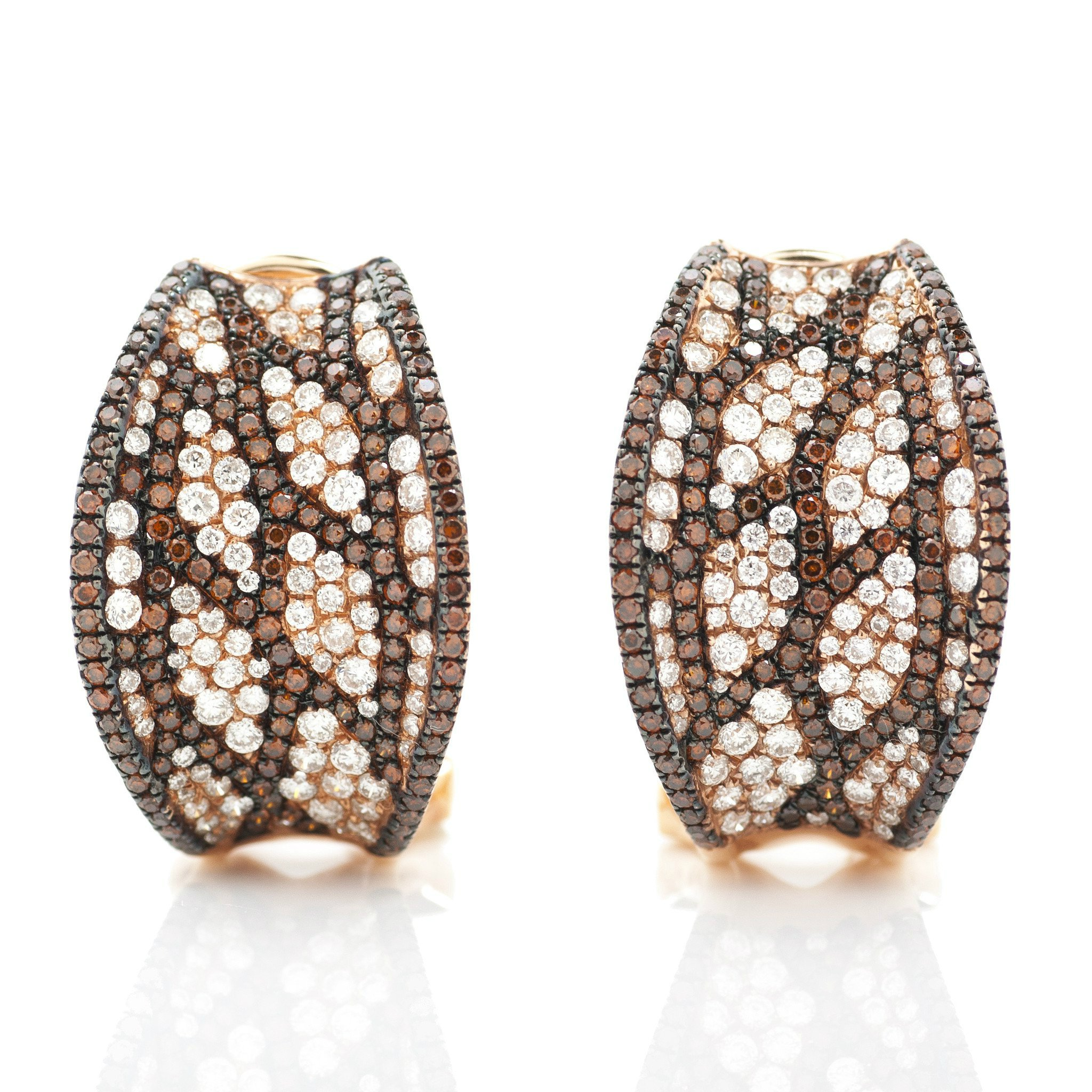 White Diamond & Cognac Diamond Pave Earrings
