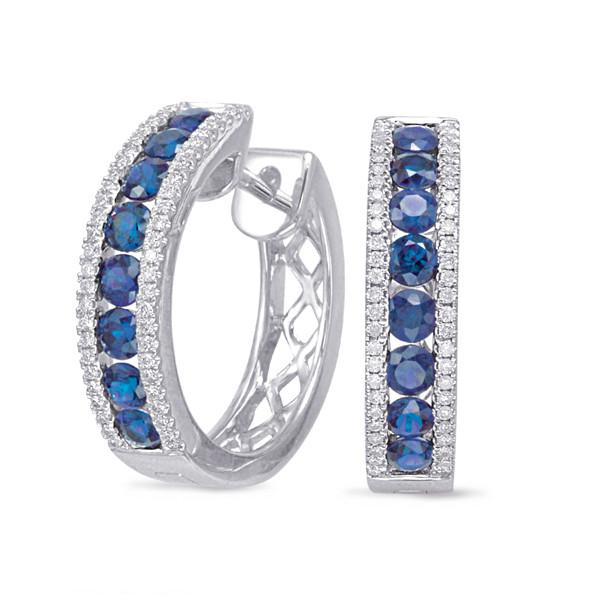 1.50 Carat Sapphire & Diamond Hoop Earrings