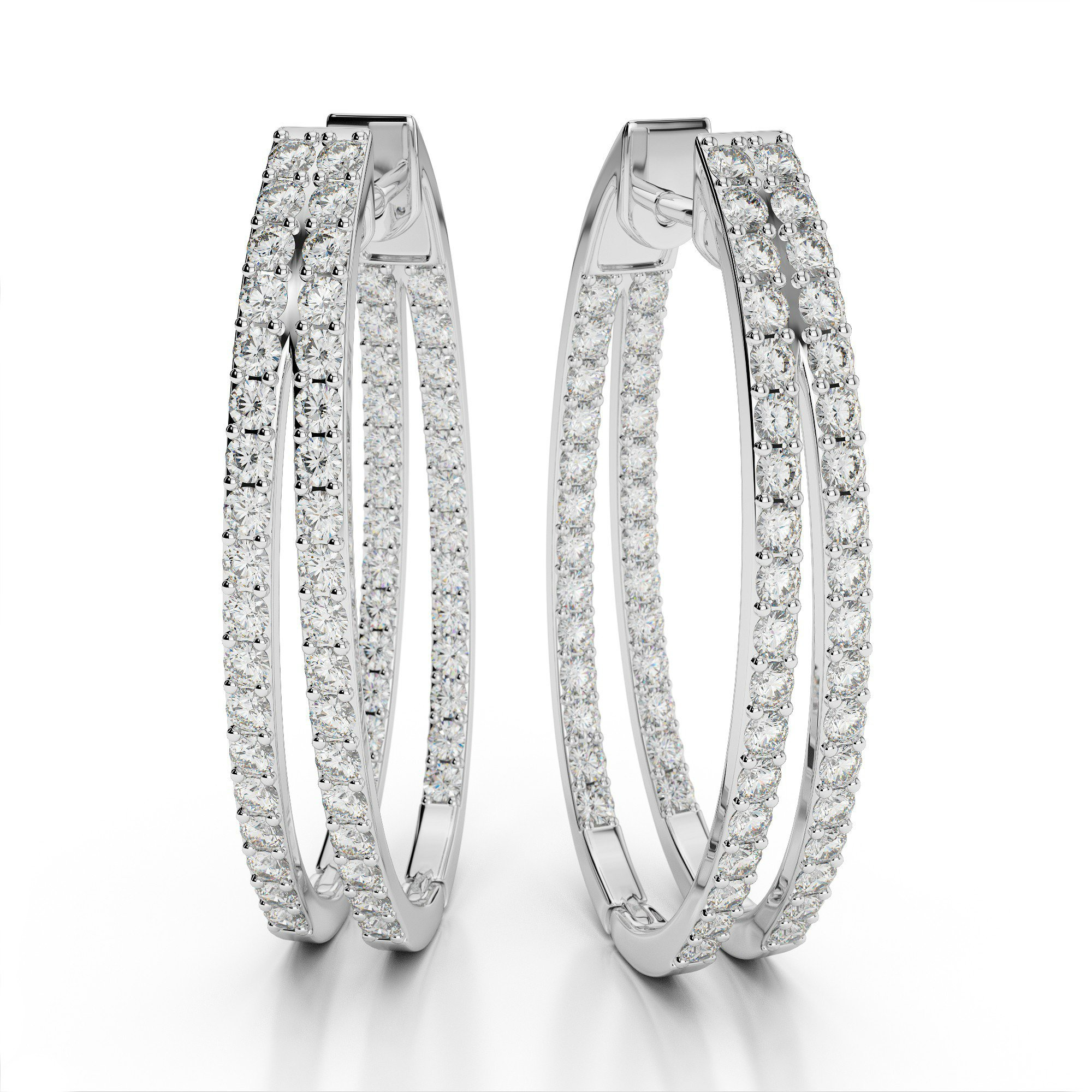 2.00 Carat Double Row Split Inside-Out Oval Hoop Earrings