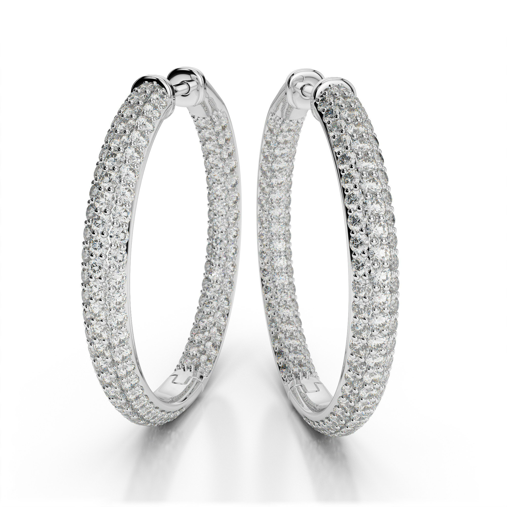 1.20 Carat Diamond Pave Hoop Earrings