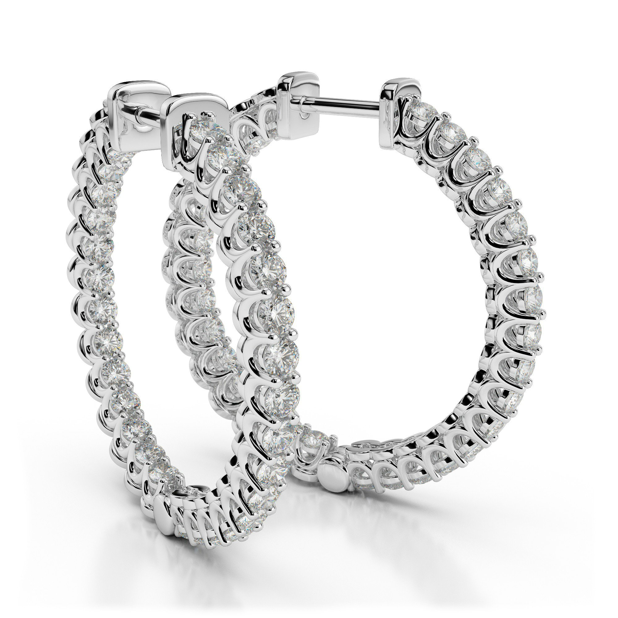 1.30 Carat Diamond Curved Prong Hoop Earrings