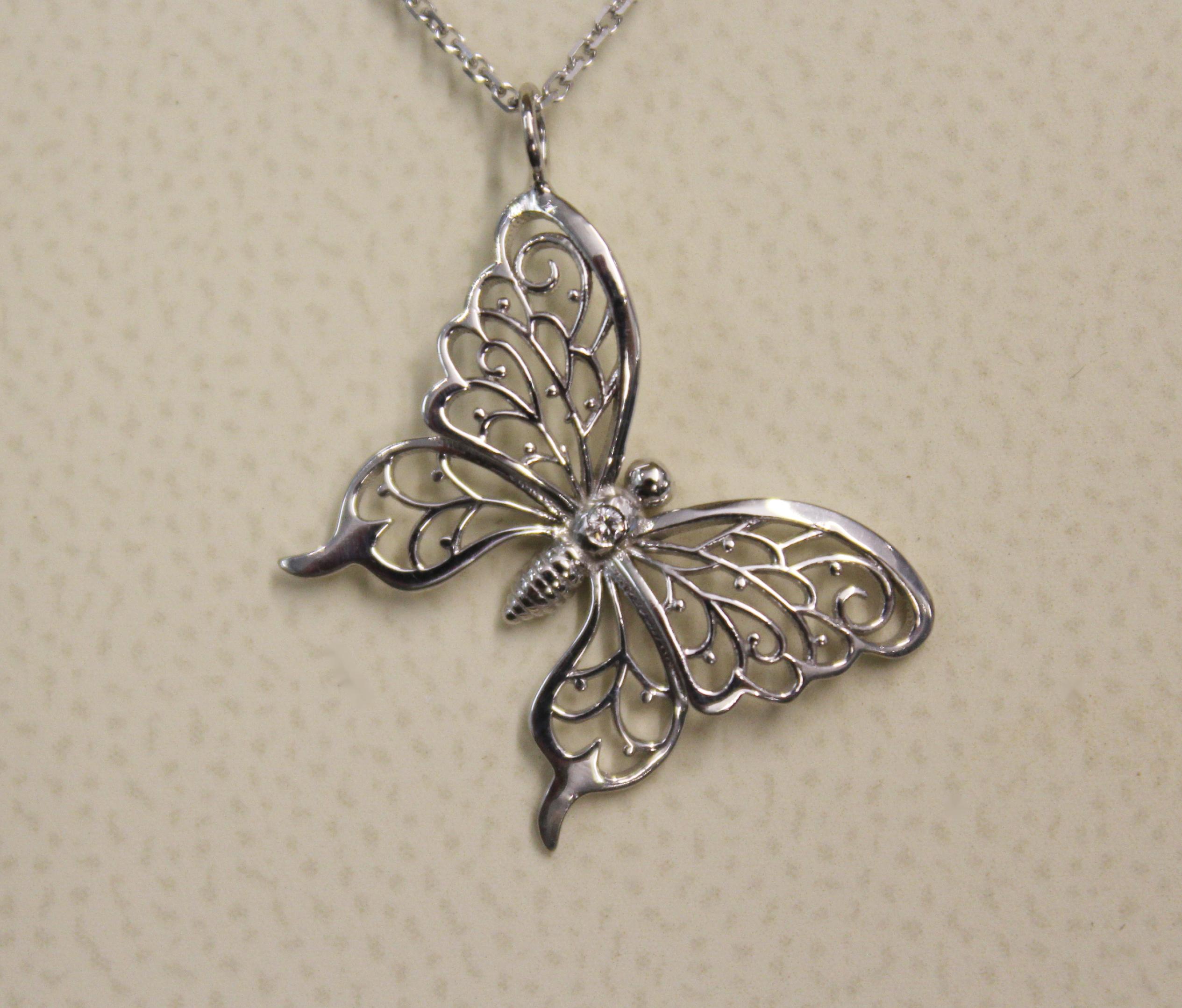 EB Healing Wings Butterfly Diamond Necklace