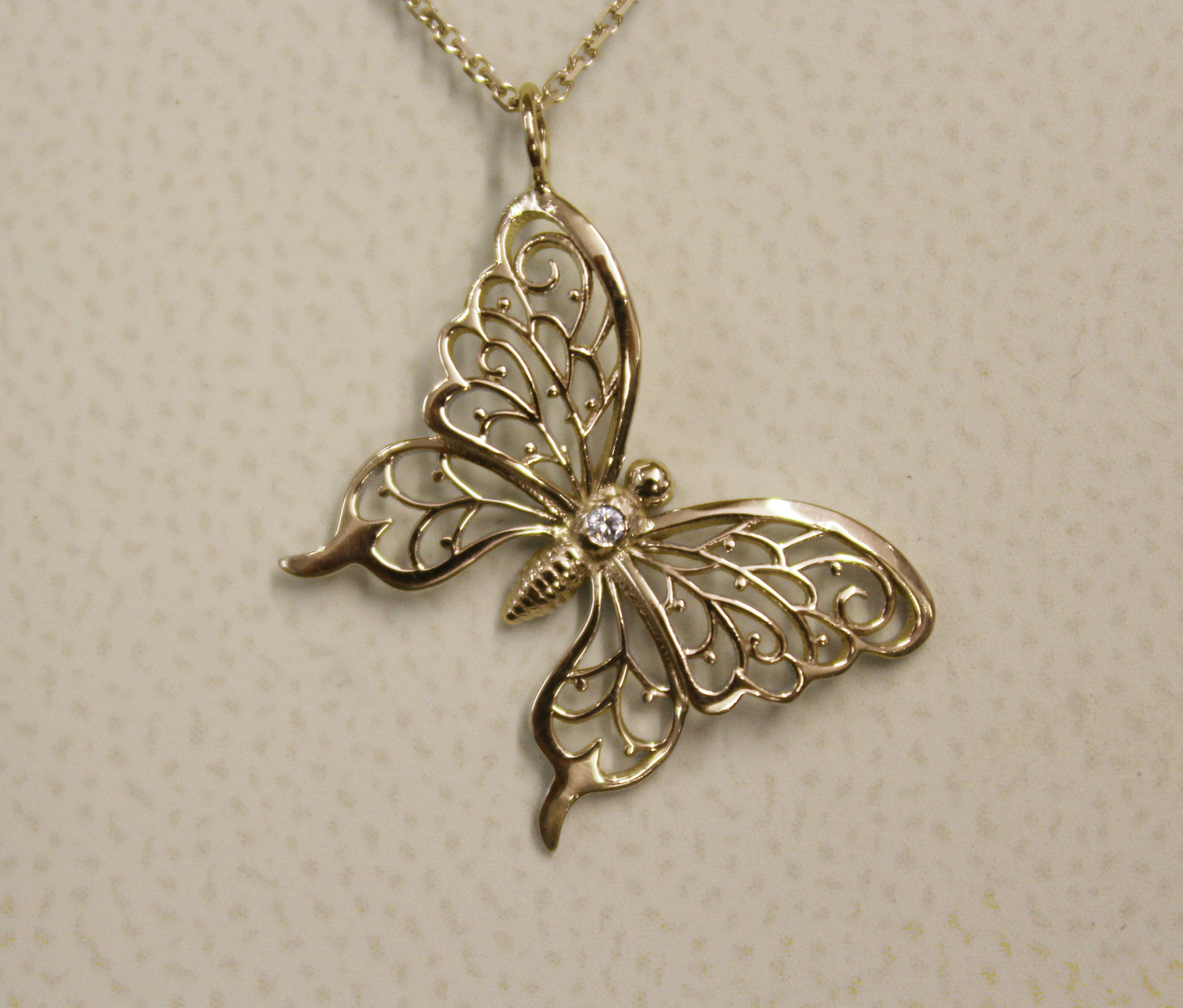 EB Healing Wings Butterfly Diamond Necklace