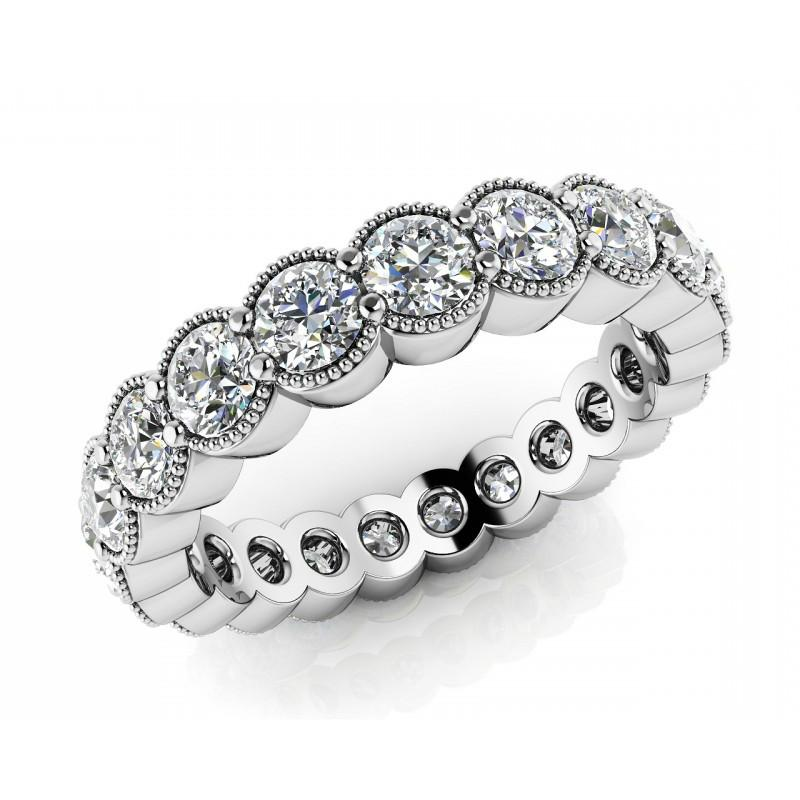 4 Carat Diamond Milgrain Eternity Band 18k