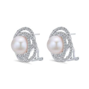 Pearl & Diamond Swirl Earrings