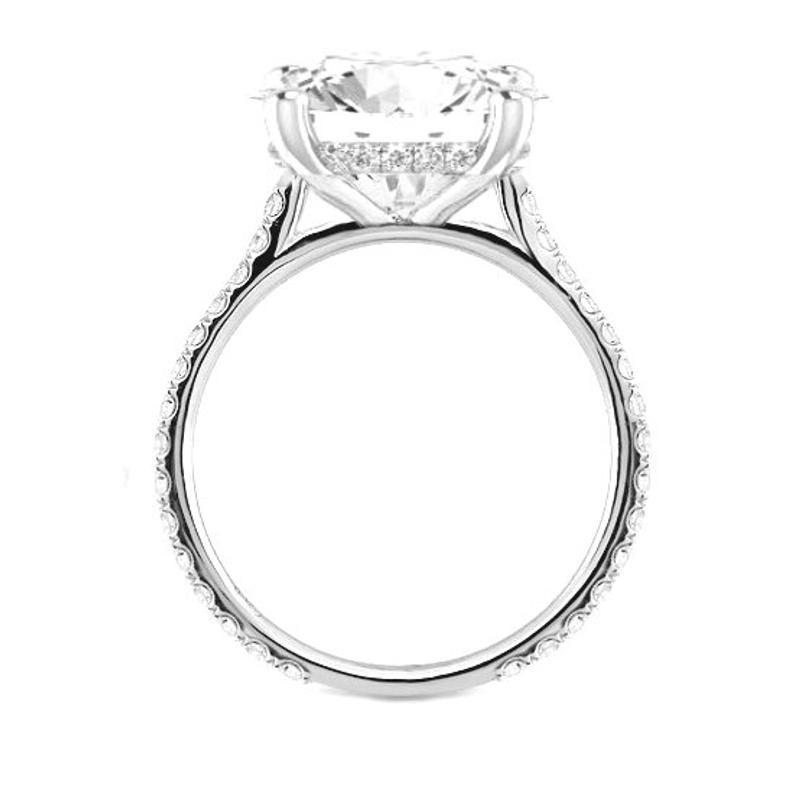 4.60 Carat Emerald Moissanite & Diamond Hidden Halo Ring