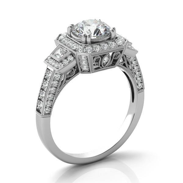 2 Carat Round Moissanite & Diamond Trapezoid Vintage Ring