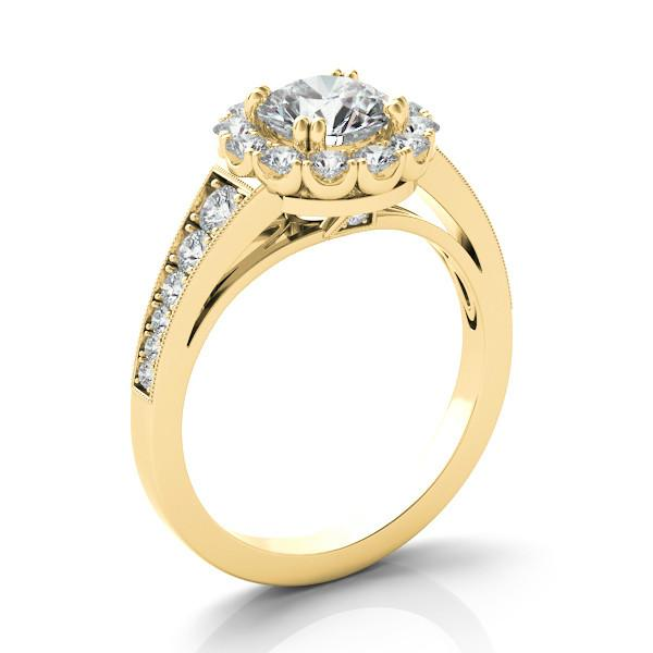 1.00 Carat Round Diamond, Scalloped Halo & Graduated Diamond Ring