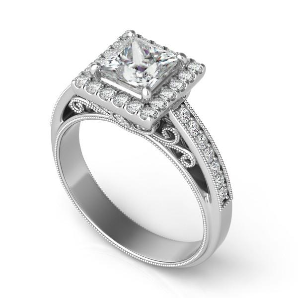 1.42 ctw Princess Diamond & Halo Filigree Ring