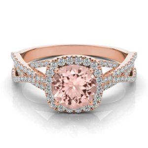 1 Carat Morganite & Diamond Halo Braided Ring