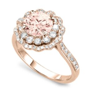 Morganite & Diamond Scalloped Double Halo Ring