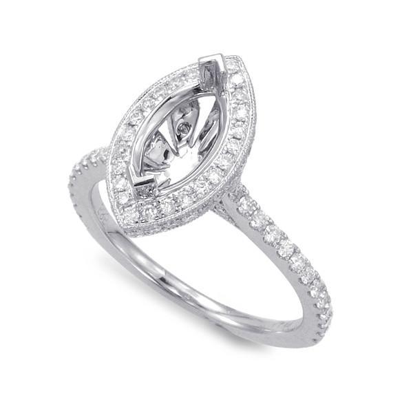 1.50 Carat Marquise & Diamond Halo Engagement Ring