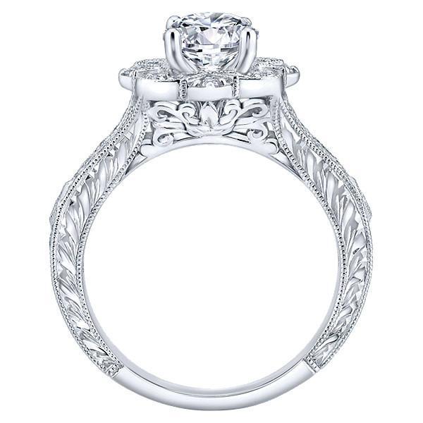 0.90 Carat Round Diamond Victorian Floral Ring
