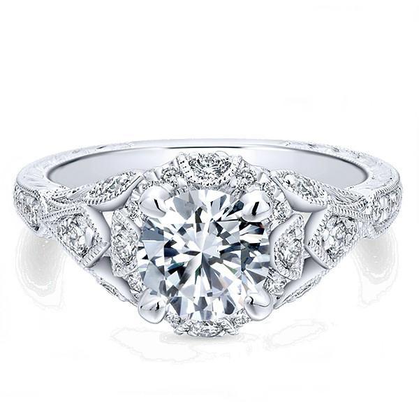 1.37 ctw Diamond Vintage Style Engagement Ring