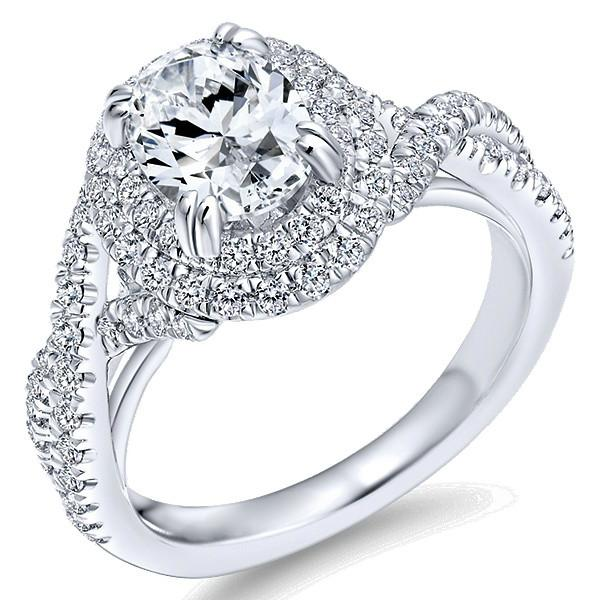 1 Carat Oval Diamond & Double Halo Twisted Shank Ring